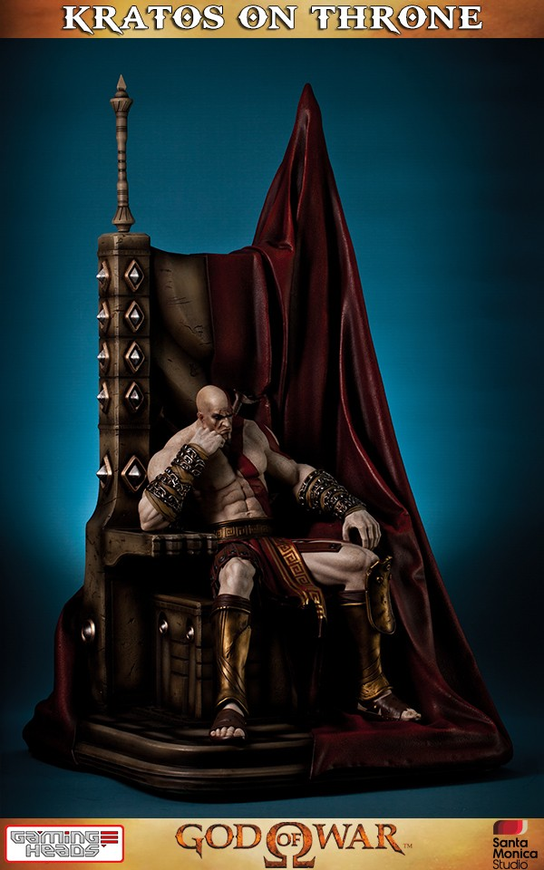 God Of War Kratos On Throne Statue  Gaming Heads-9240