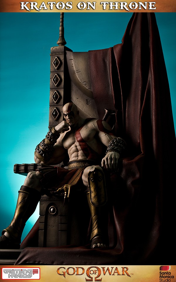 God Of War Kratos On Throne Statue  Gaming Heads-8054